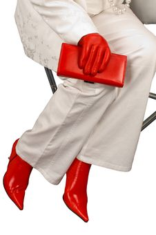 Red Boots And Gloves. Stock Photos