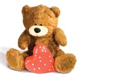 Free Brown Teddy Bear With Red Heart Stock Photos - 8023263