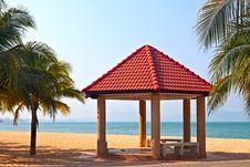 Free Pergola On The Beach Stock Image - 8023411