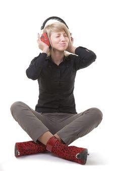 Free Pretty Girl Enjoying Her Music Stock Photo - 8023720