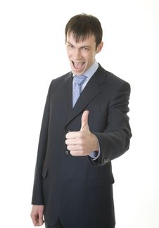 Businessman Shows OK Sign Stock Photos