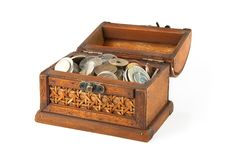 Free Open Chest With Lot Of Coins Royalty Free Stock Photo - 8024165