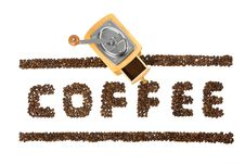 Free Hand Coffee-grinder With A Coffee Word Stock Photography - 8024382