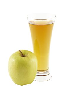 Glass Of The Apple Juice And  Apple. On The White.