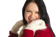 Free Laughing Young Woman In White Mittens Royalty Free Stock Image - 8025116