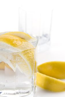 Soda Water And Lemon Slices Stock Photo