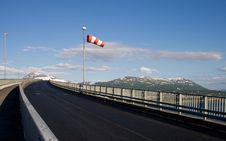 Free Bridge Road And Striped Windsock In Tromso, Norway Stock Photo - 8026100