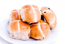 Free Plate Of Hot Cross Buns Stock Photography - 8026282
