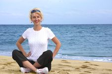 Free Girl Meditating By The Sea Royalty Free Stock Photography - 8027147