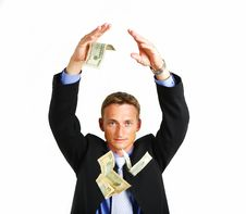 Free Money In The Hand Of The Businessman Stock Image - 8027541