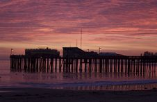 Silhouette Of Capitola Wharf At Sunset Royalty Free Stock Images