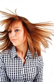 Free Pretty Young Woman Flinging Long Hair Into Air Stock Photo - 8027590