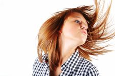 Free Pretty Young Woman Flinging Long Hair Into Air Stock Photos - 8027613