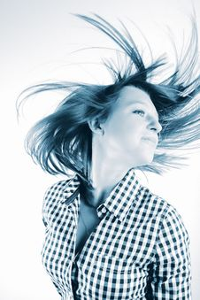 Free Pretty Young Woman Flinging Long Hair Into Air Royalty Free Stock Photography - 8027637