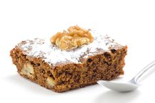 Hot Chocolate Brownie With Walnuts And Vanilla Royalty Free Stock Photography