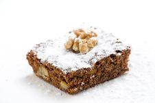 Hot Chocolate Brownie With Walnuts And Vanilla Stock Photo