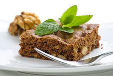 Hot Chocolate Brownie With Walnuts And Vanilla Stock Photos