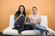 Free Couple Watching TV Royalty Free Stock Image - 8027976