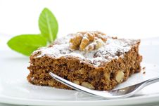 Hot Chocolate Brownie With Walnuts And Vanilla Stock Images