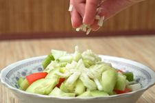 Preparing The Salad To The Dinner. Royalty Free Stock Images