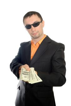 The Guy With Dollars In A Suit Stock Photography