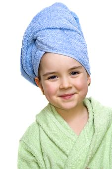 Free Close Up Of Young Attractive Girl In Bathrobe Stock Photography - 8028912