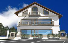 3D Render Of Modern House Stock Photos