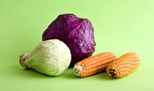 Corn And Cabbage Royalty Free Stock Image