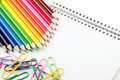 Free Colored Pencils And Paperclips With Index Cards Stock Photos - 8034793