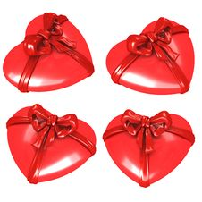 Free Red Hearts With Ribbon Stock Image - 8030311
