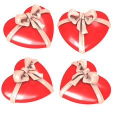 Free Red Hearts With Ribbon Royalty Free Stock Image - 8030396