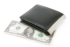 Free Black Leather Wallet  With Dollar Stock Photo - 8031360
