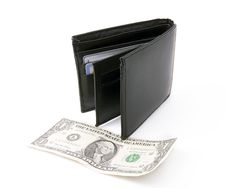 Free Black Leather Wallet With Dollar Royalty Free Stock Image - 8031386