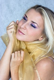 Beauty In Silk Scarf Royalty Free Stock Photo