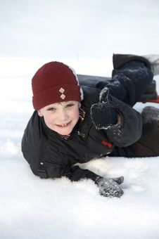 Free A Boy In Snow Stock Image - 8032851