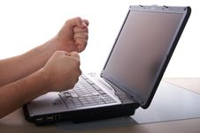 Free Angry With Laptop Stock Photography - 8032892