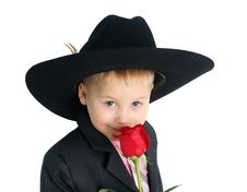 Free Boy With Rose Closeup Portrait Stock Photos - 8032923