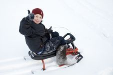 Free A Boy On The Sledge Stock Image - 8033081