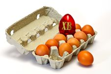 Easter Eggs In Carton Box Stock Photography