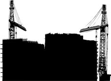 Free Two Cranes And Building Royalty Free Stock Photos - 8034008