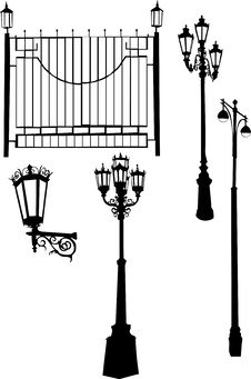 Free Street Lamps With Fence Stock Photography - 8034102