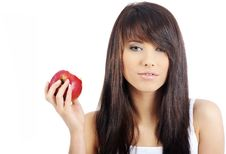 Free Woman Eating Red Apple. Stock Images - 8034564