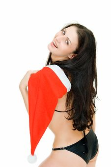 Free Girl With Santa Cap Royalty Free Stock Images - 8034719