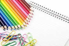 Colored Pencils And Paperclips With Index Cards Stock Photos