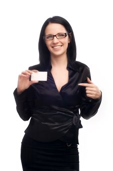 Free Girl With A Business Card Stock Photos - 8035983