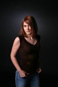 Free Pretty Red Headed Teenage Girl In Dark Shirt Royalty Free Stock Photos - 8035998