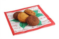 Free Cookies On Napkin Stock Photography - 8036442