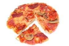 Free Pizza With Cut Off Piece Stock Photography - 8038852