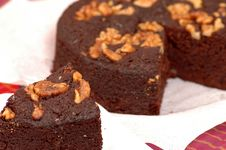 Walnut Chocolate Cake Stock Image