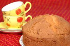 Fruit Cake With Tea Stock Photos